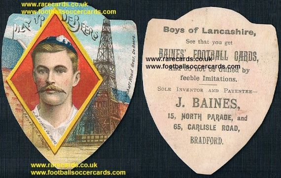 1900 deBeers De Beers mining company cricket rugby team J Brown Baines trade card